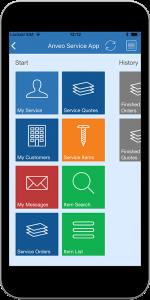 Anveo Service App Menue