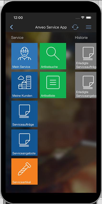 Service App Main Menu