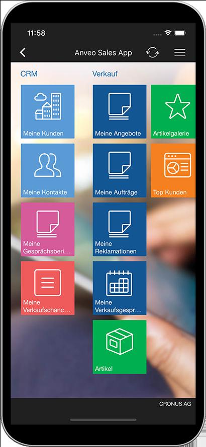 Startmenü der Anveo Sales App
