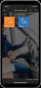 Start Menu Anveo Delivery App