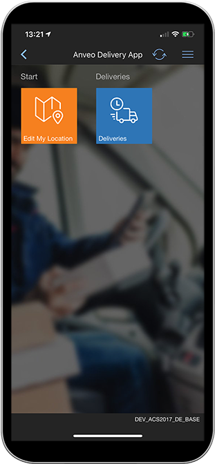 Start Menu Anveo Delivery App